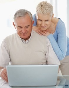 active seniors on a laptop